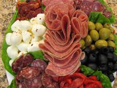 Vegetable, meat and cheese platter