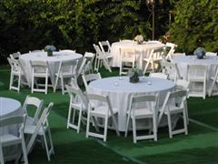 Outdoor dining table with uniform chairs