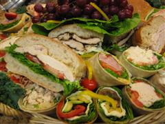 Wraps and sandwiches on a platter