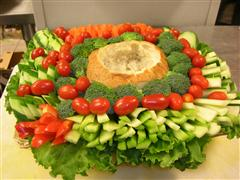 Platter of vegetable and bread