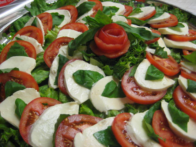 Tomato and mozzarella on a platter