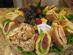 Sandwiches and wraps on a platter