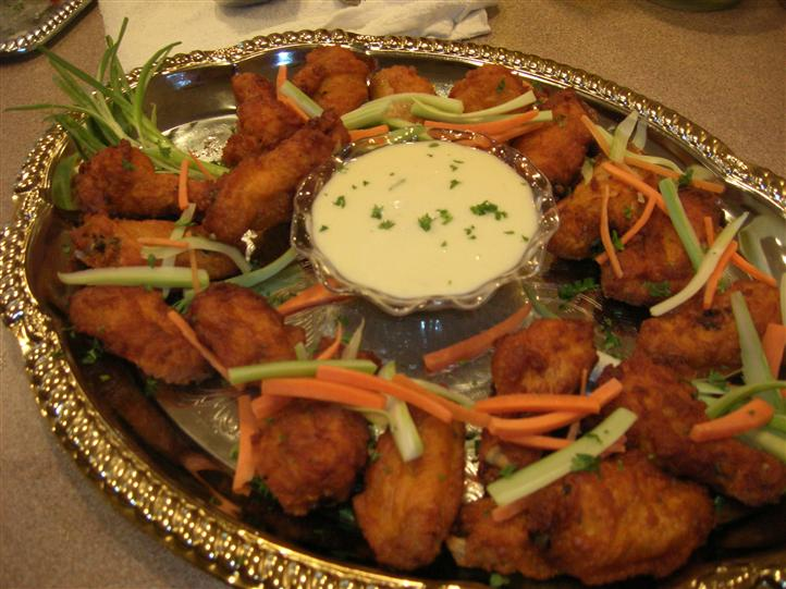 Fried wings, vegetables, and dip