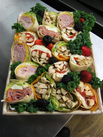 Wraps on a platter for a  catering event