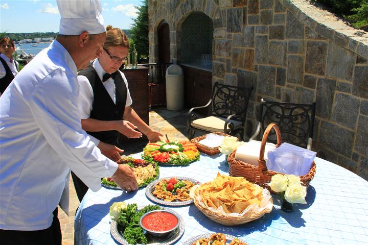 Chef displaying food for catering event