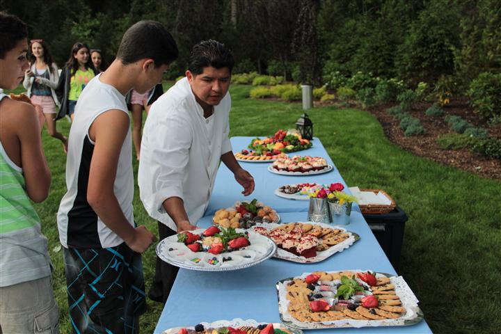 Catering event with platters of food