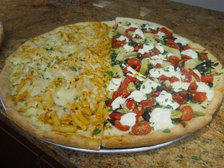 Pizza pie with multiple different toppings