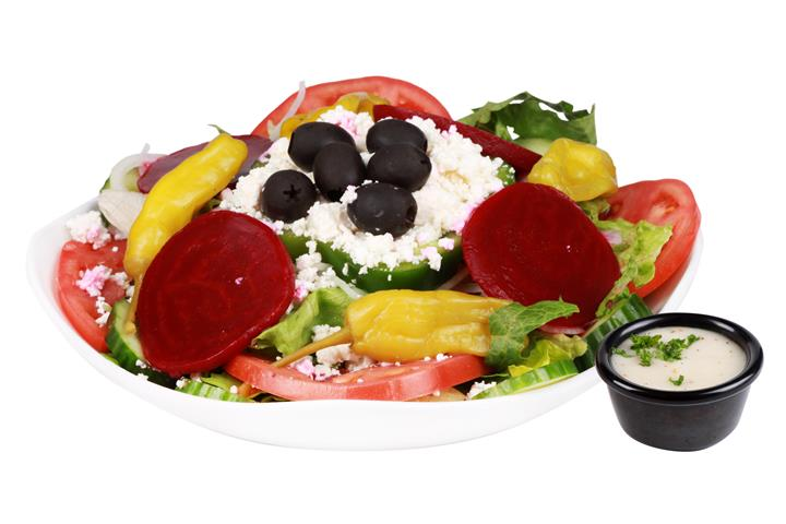 fresh romaine & iceberg lettuce, tomatoes, cucumbers, feta cheese, olives, beets, carrots, onions parsley & pepperoncini topped with Greek dressing