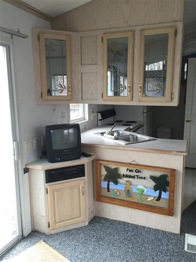 kitchen area with wooden cabnets, mini tv, and sink