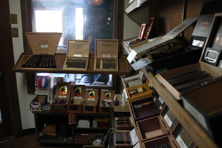 Cigar room with boxes of cigars