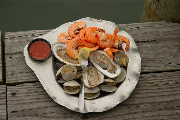 plate of shrimp and oysters