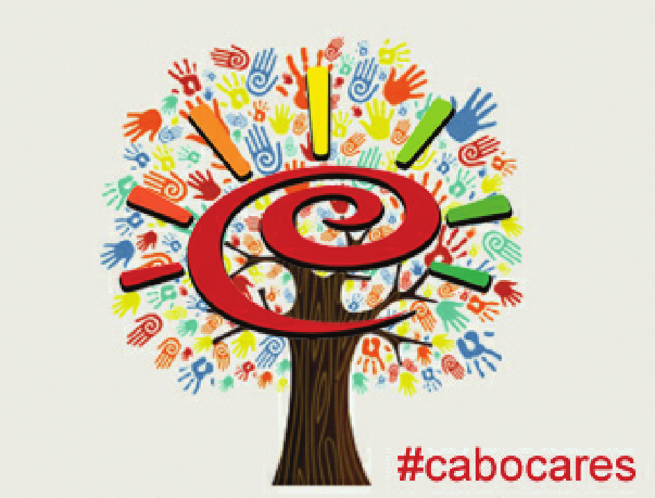 #cabocares Painted hands looking like leaves of a tree graphic