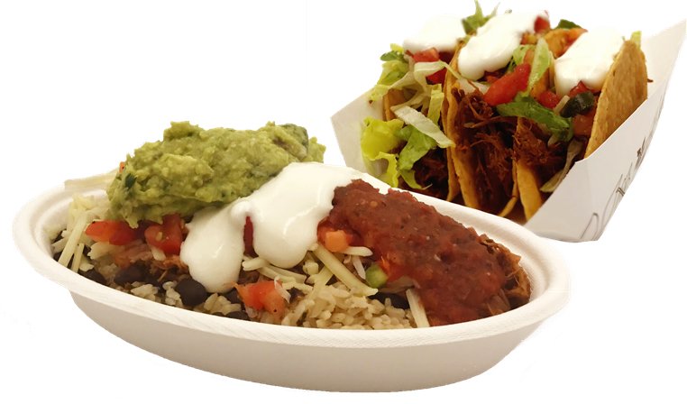 Baja bowl with seasoned rice, black beans, salsa, cheese, sour cream, guacamole next to three crispy tacos with meat, lettuce, tomato, sour cream