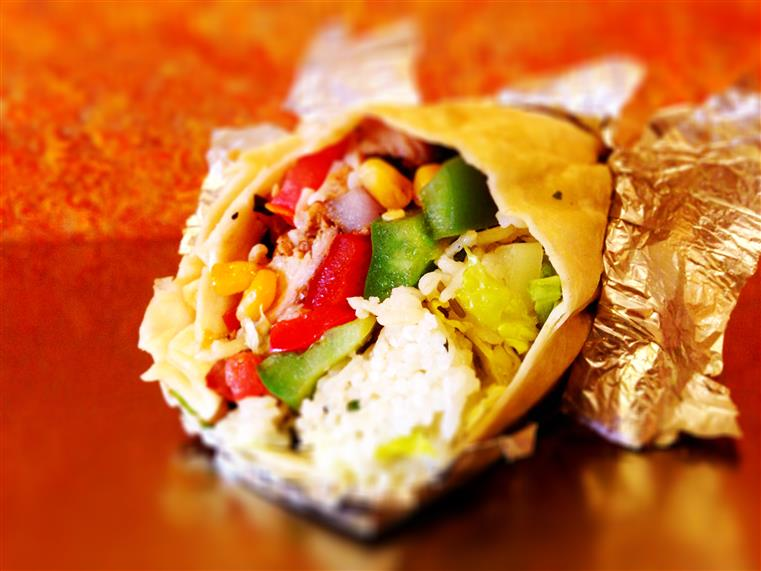 Burrito with rice and vegetables