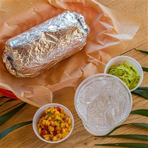 burrito with a side of corn salsa