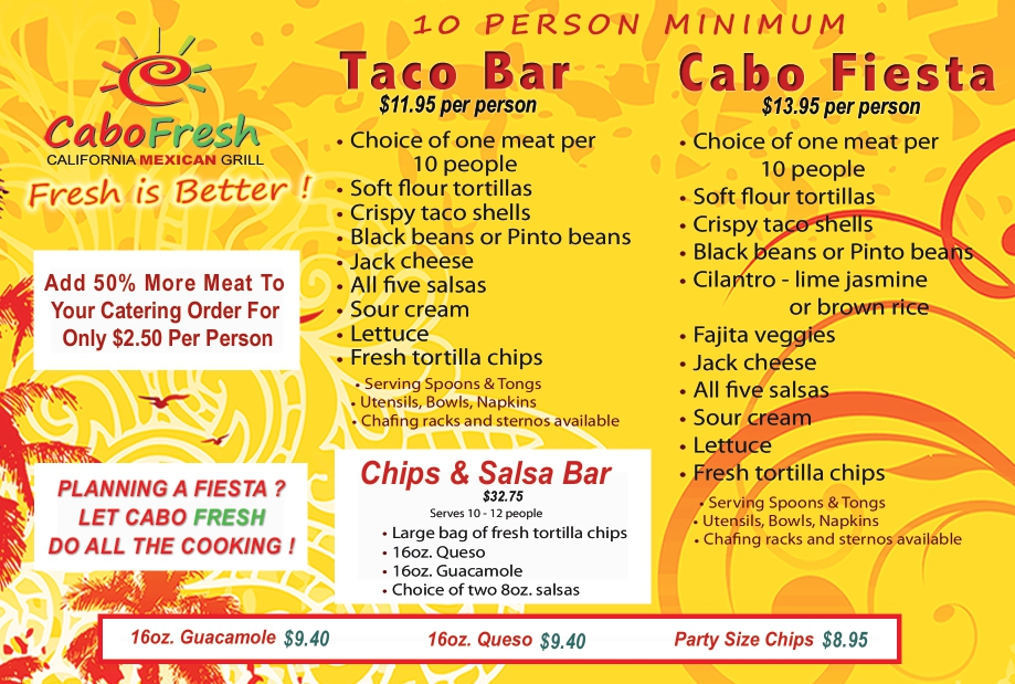 Cabo fresh Catering menu