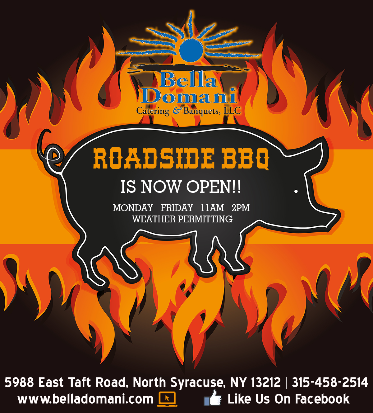 roadside bbq is now open!! monday -friday 11am-2pm weather permitting