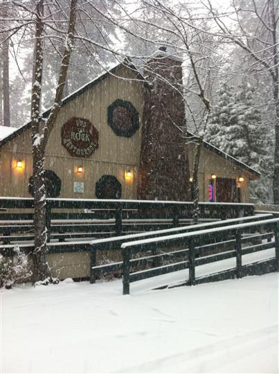 Exterior of  establishment with snow