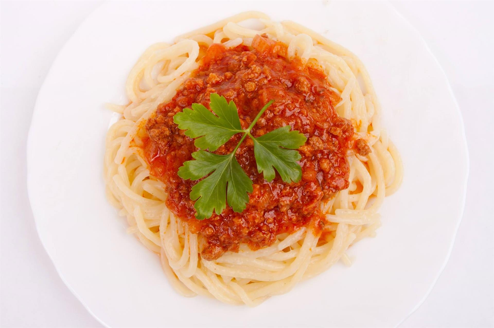 Spaghetti with tomato sauce in a bowl