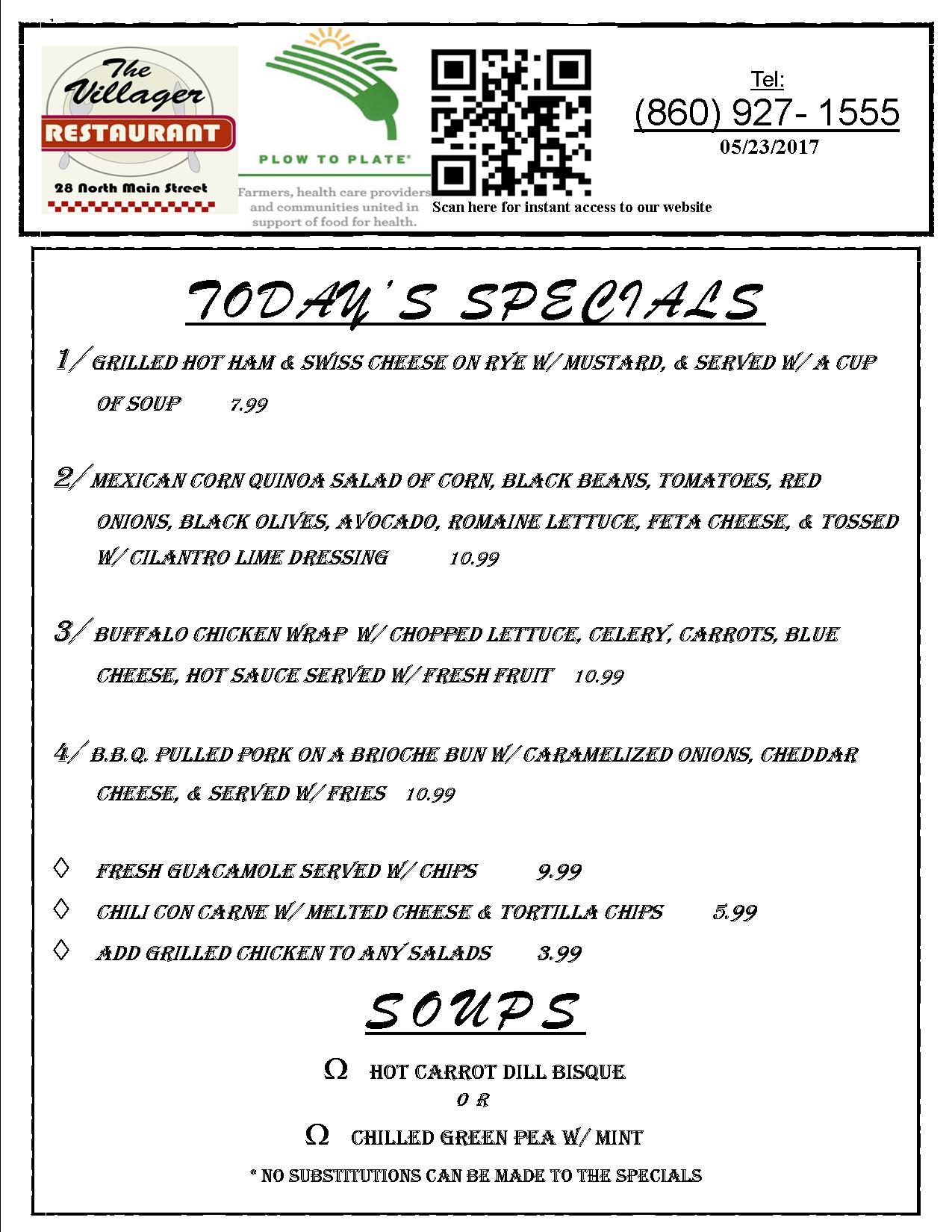 LUNCH SPECIALS 05.20 & 21.17