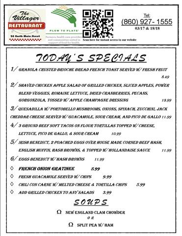 LUNCH SPECIALS 03.17 & 18.18
