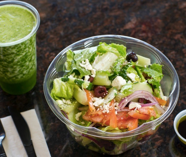 greek salad with green smoothie