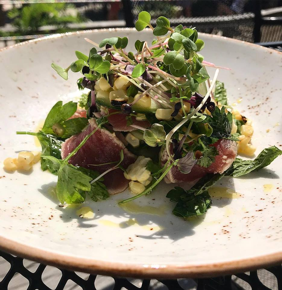 Ahi tuna with corn and bean sprouts