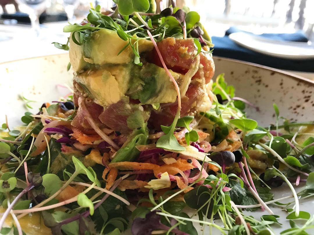 Salad with shredded carrots, ahi tuna, guacamole, and bean sprouts