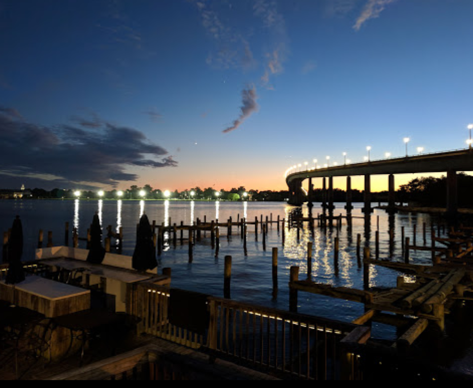View of the sunset on the dock