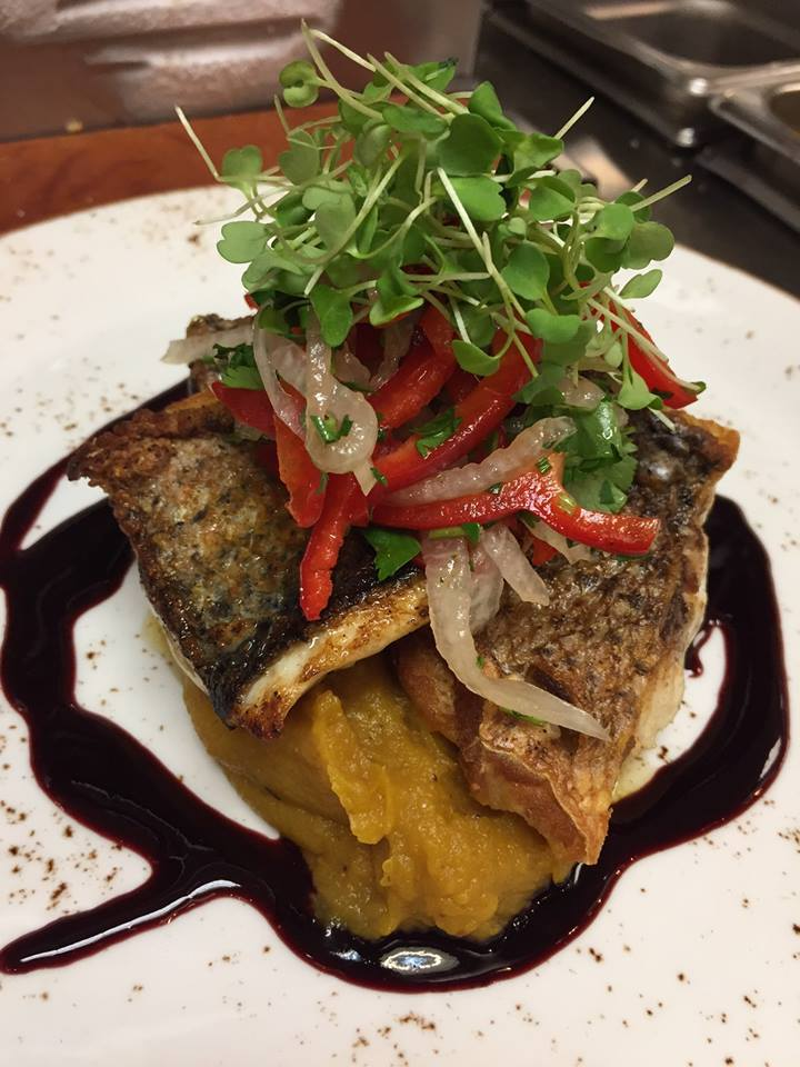 Fish over a mash, glaze and topped with arugula