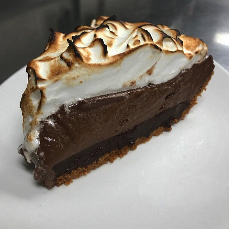 Chocolate pie topped with meringue
