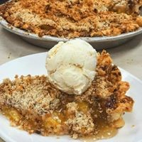pie with ice cream on top
