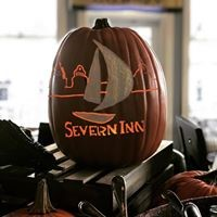 Severn Inn carved in a pumpkin
