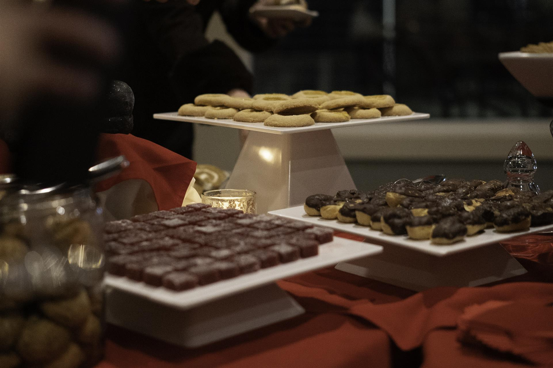 small dessert patries on several trays