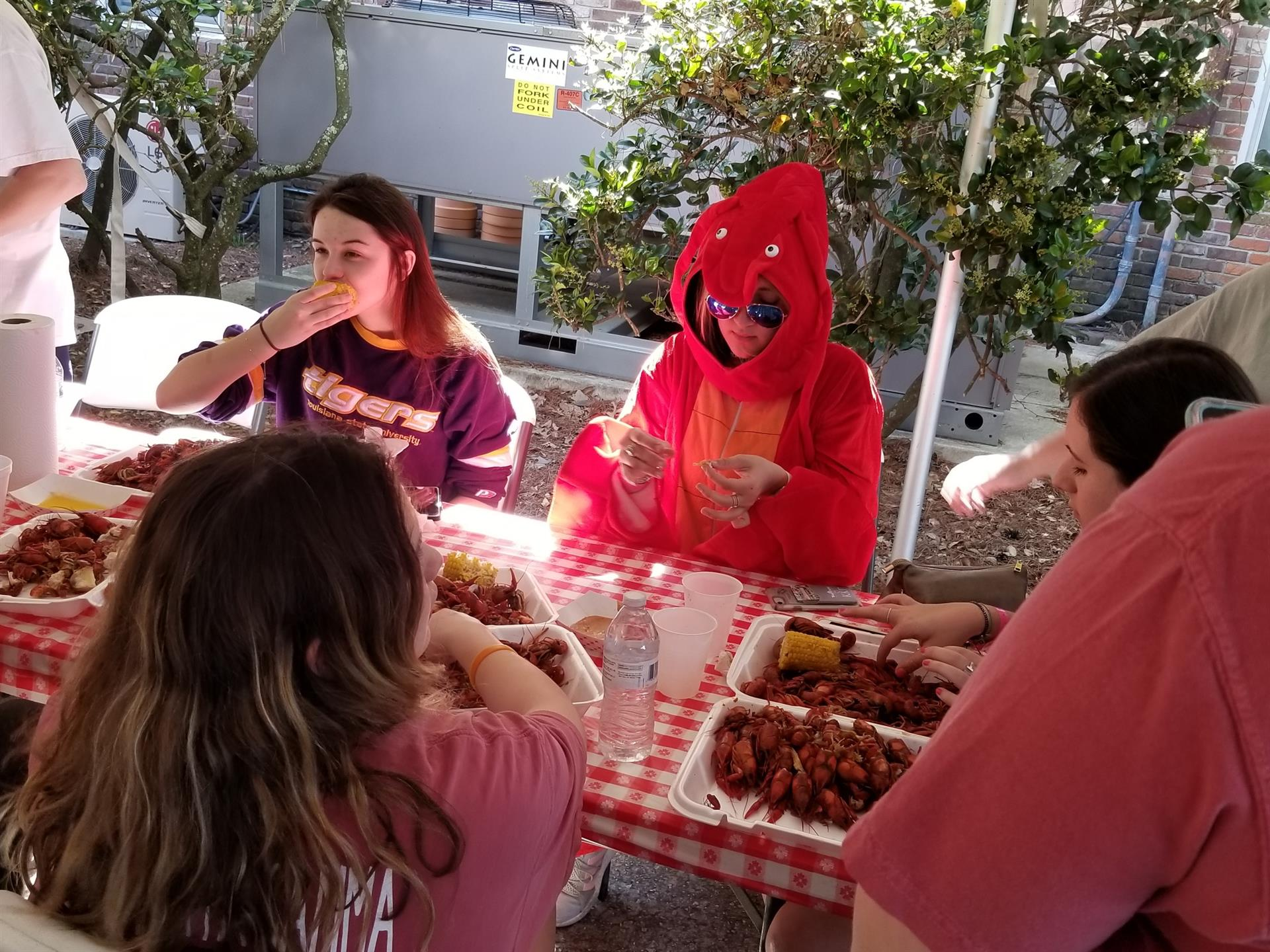 person eating in a lobster costume