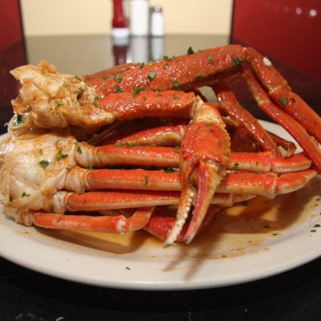 large crab legs on a plate