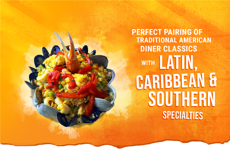 perfect pairing of traditional american diner classics with latin, caribbean & southern specialties.