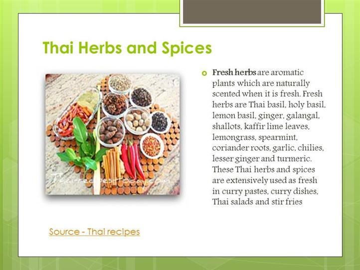 thai herbs and spices ingredient