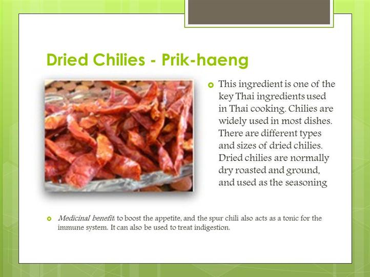 dried chilies ingredient