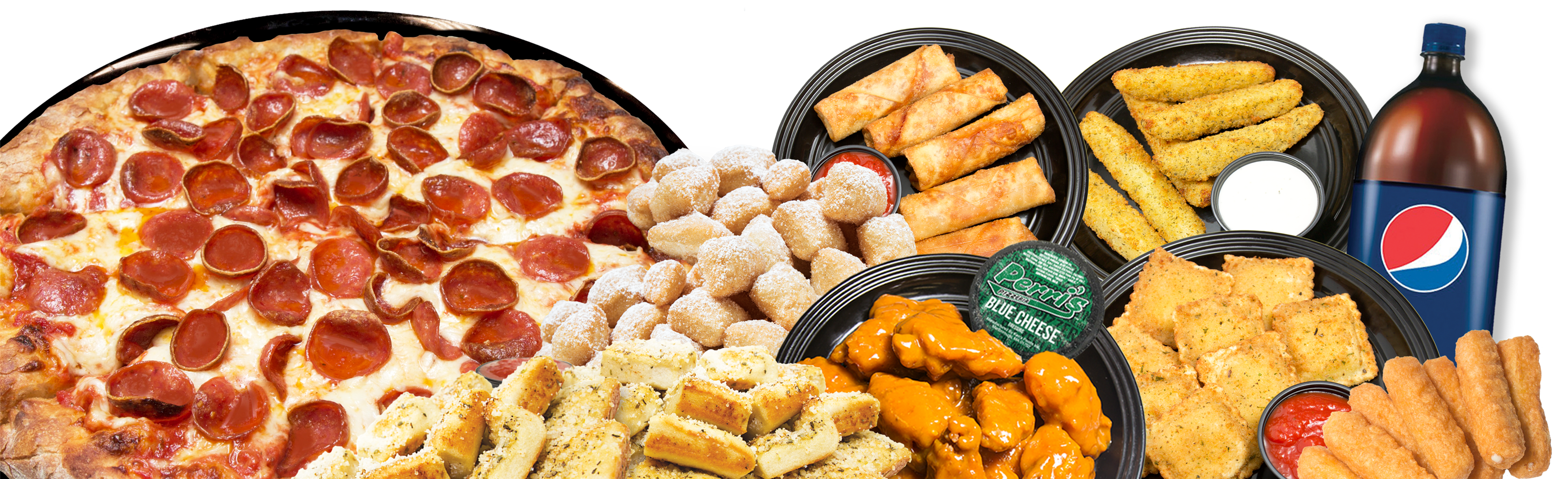 Pizza Wings Pizza Logs Fried Dough
