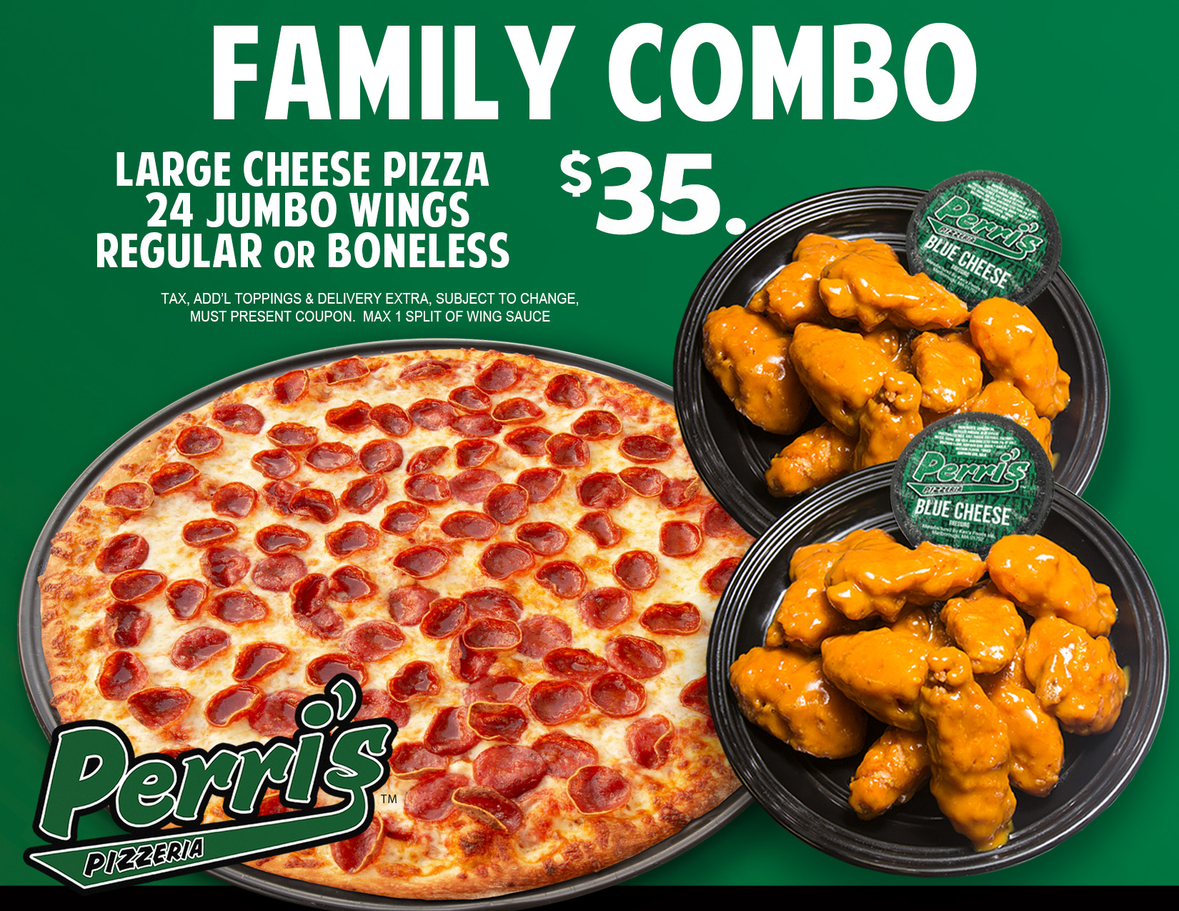 family combo pizza wings