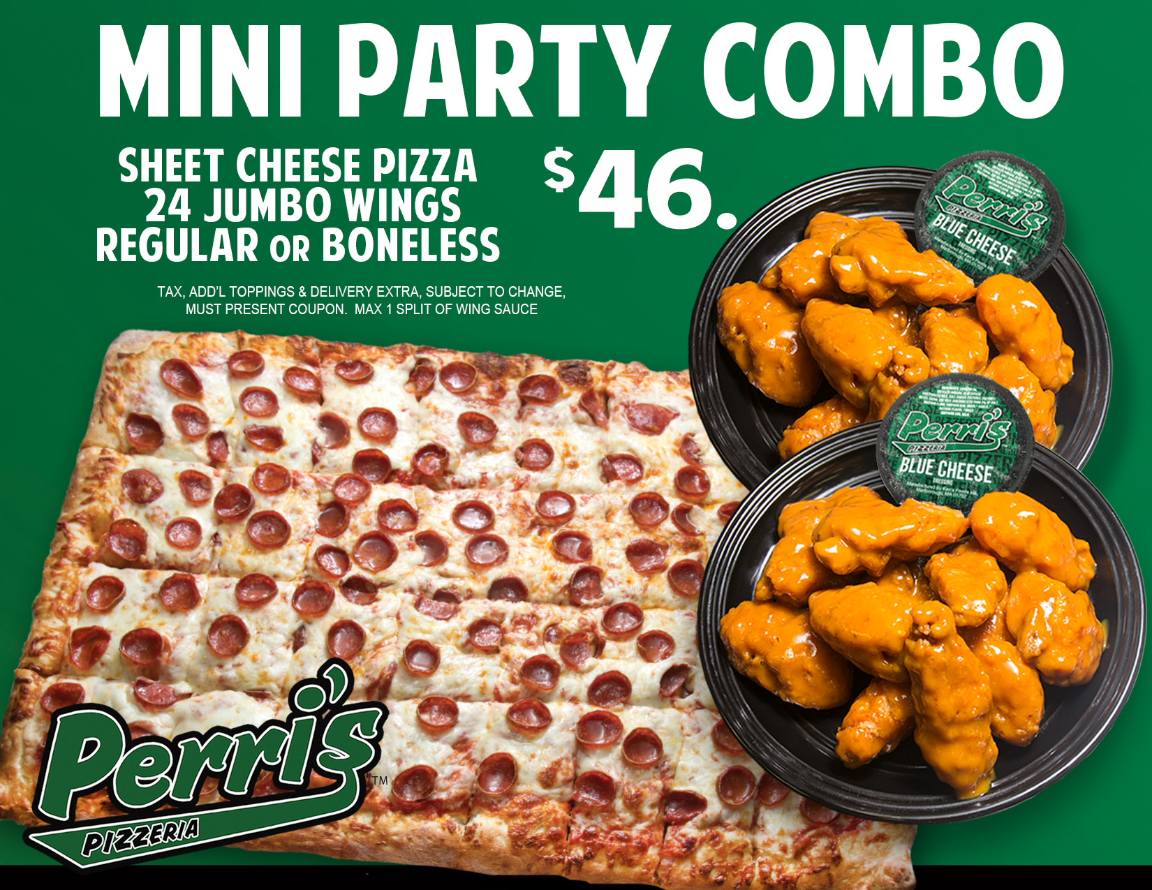 mini party combo pizza and wings sheet pizza deal