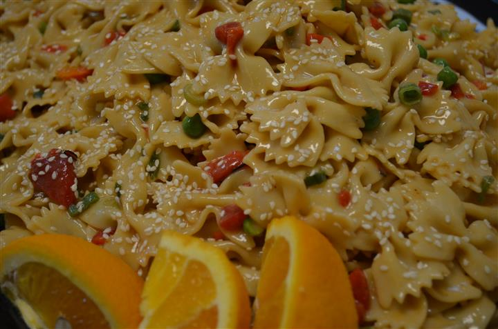 Pasta dish with lemons and peas