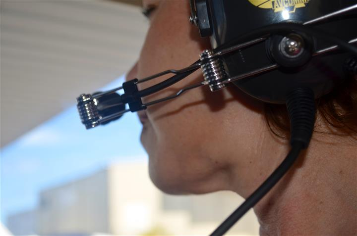 Person talking into a aviation headset