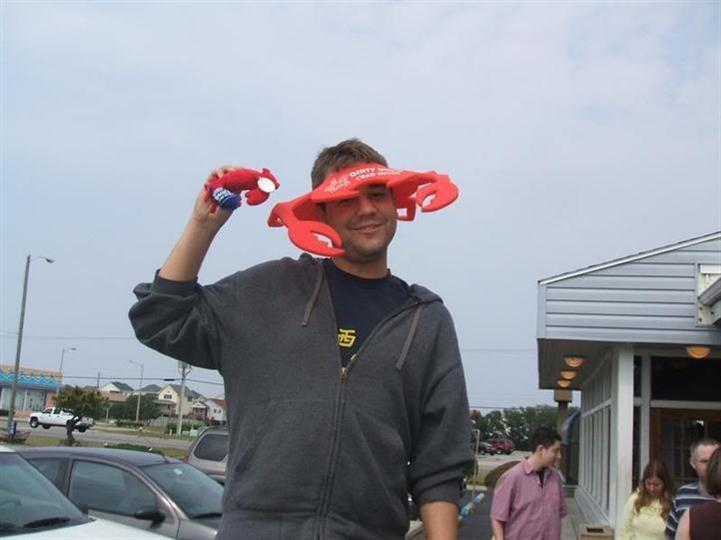 male wearing lobster hat