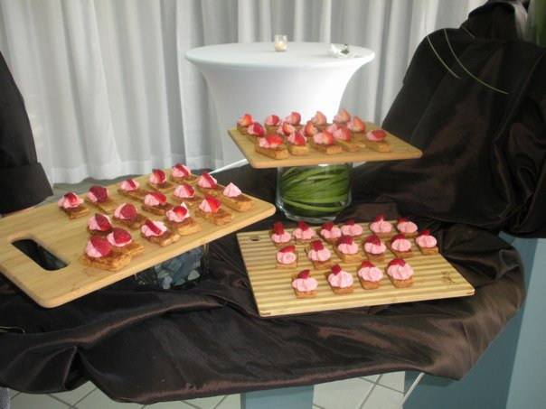 Dessert trays on a brown table cloth