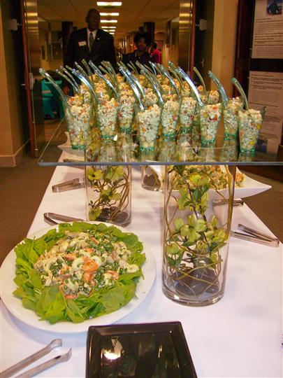 A Chesapeake bay catering creation served in glass bowls on a