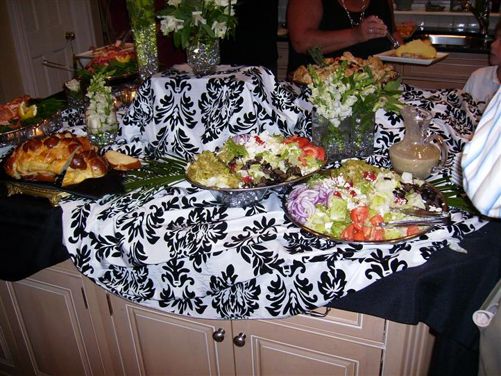 A buffet with serveral trays