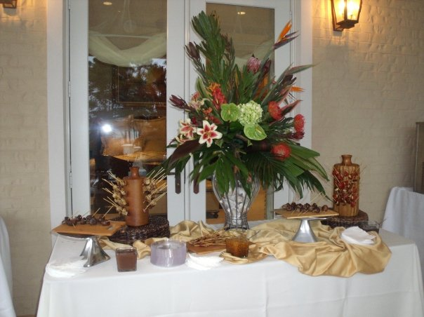 A buffet with several trays