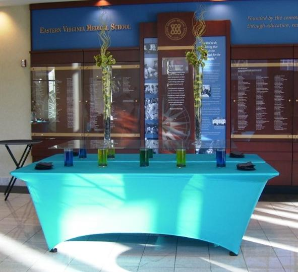 A light blue decorated buffet